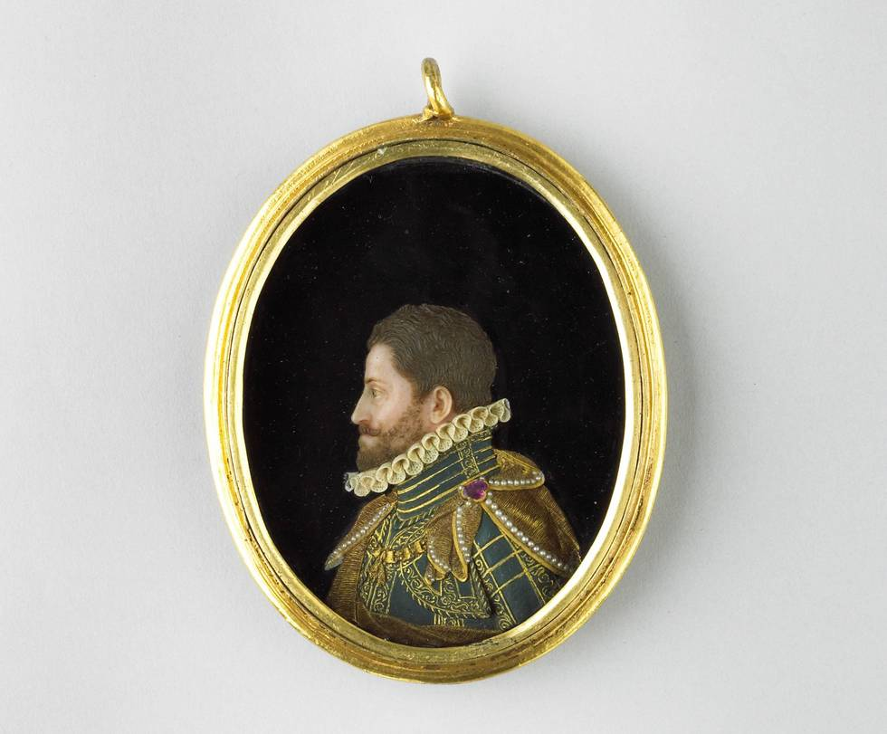 Wax relief portrait of a man in an oval frame