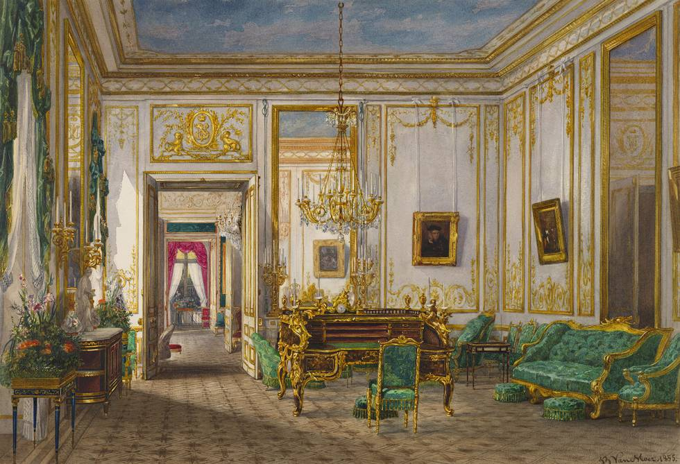 A watercolour of Queen Victoria's Sitting Room at the Château de Saint-Cloud