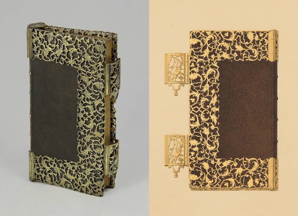One image and one drawing of book with silver foliage mount