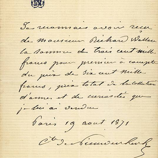 WC Archive - AR2 28A Receipt from the Comte de Nieuwerkerke.jpg