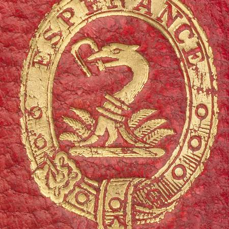 stamp of the Hertford Family crest in gold on a red background