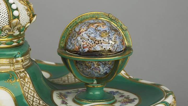 Detail of globe inkstand, inscriptions of zodiac signs