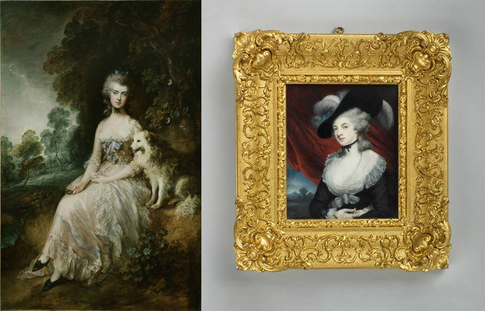 Two portraits of Mrs Robinson, one full length with dog, second top half of women
