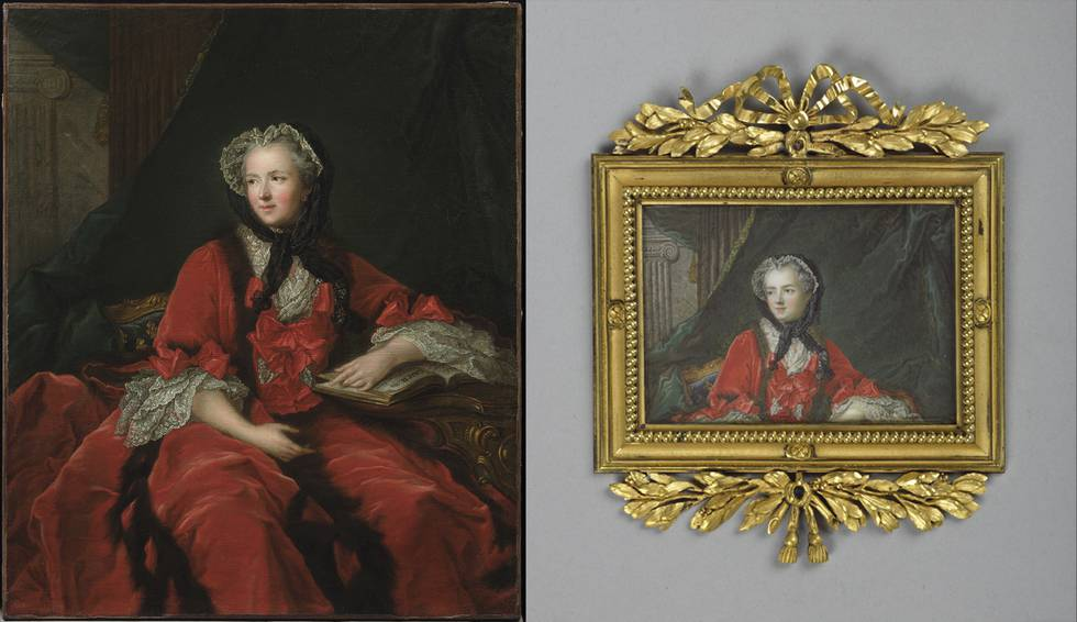 Two portraits of women sitting, right painting of top half of women
