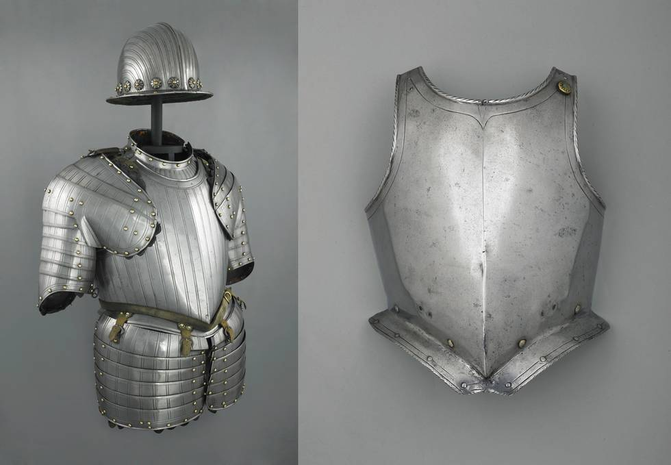 Two photos of breastplates, one including helmet and shoulder protection