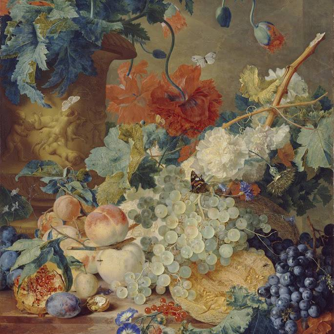 Still life of fruit, flowers and butterflies