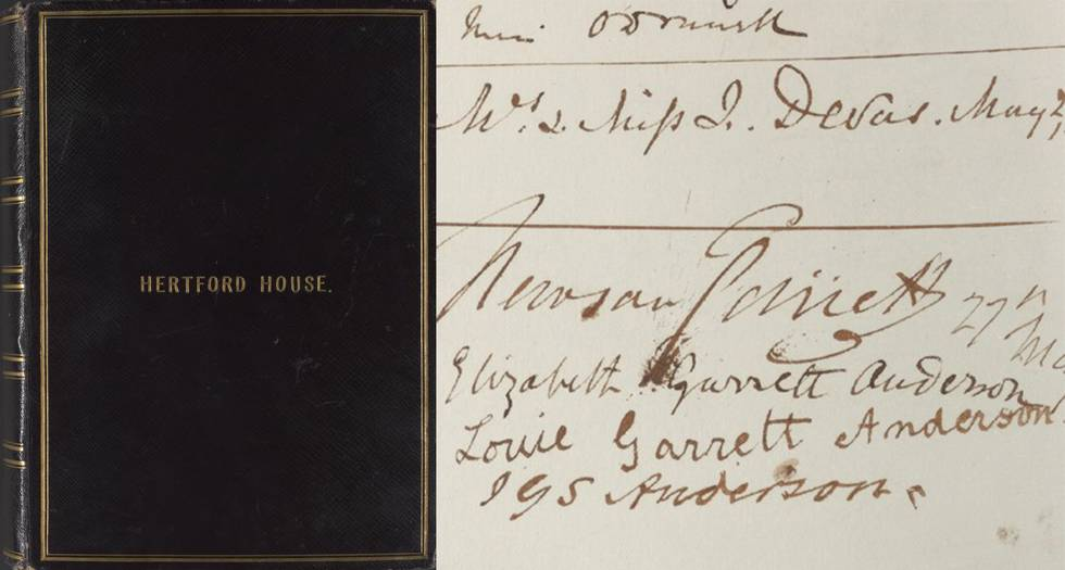 Hertford house signature book front cover and page of signatures